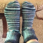 Socks completed with a picot bind off.