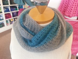 Crocheted Mobius Cowl from Churchmouse Patterns, crocheted by Tina