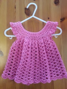 Angel Wing Pinafore, designed by Maxine Gonser, crocheted by Maria